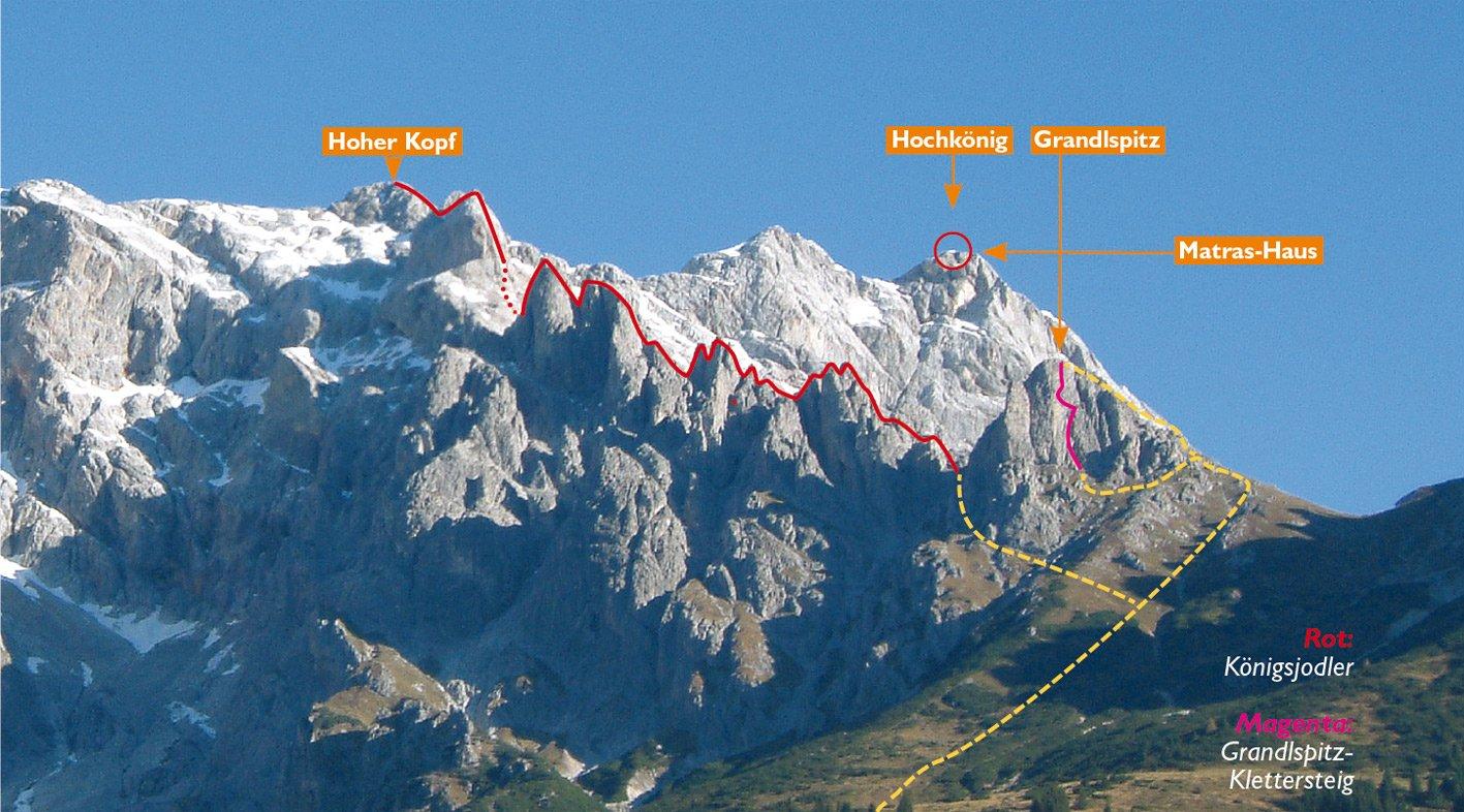 Klettersteig Königsjodler : Königsjodler klettersteig bergsteigen.com