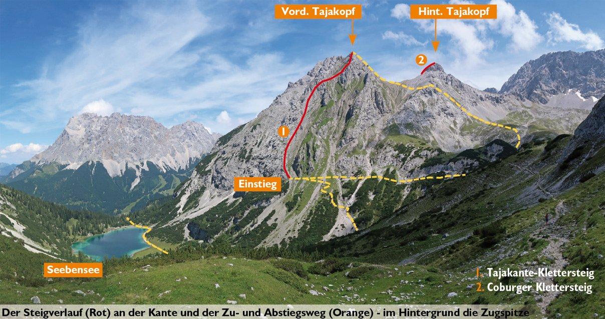 Klettersteig Coburger Hütte : Tajakante klettersteig bergsteigen