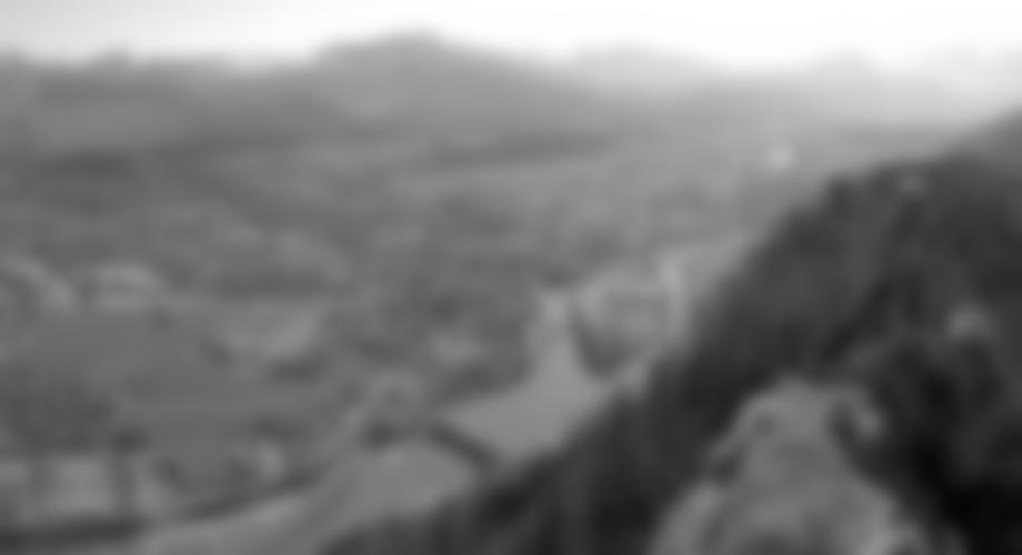 Auf dem Grat mit Blick hinunter auf die Stadt Hallein.