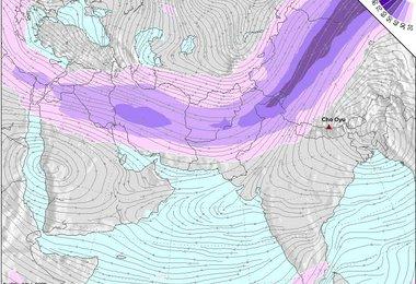 Der Verlauf der Jetstreams auf der Wetterkarte