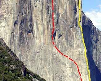 Die 1000 m hohen Wände des El Capintan. rot = Freerider, gelb = Nose