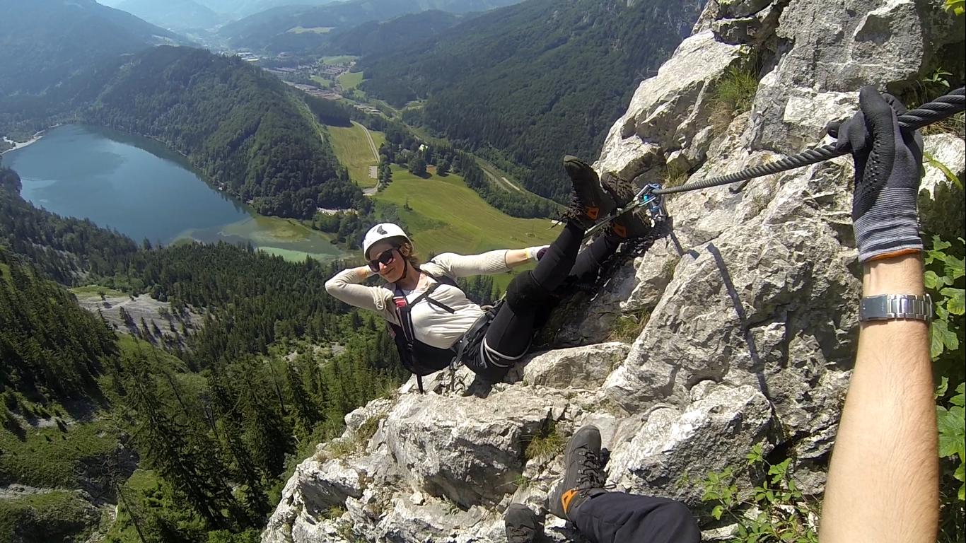 Klettersteig Leopoldsteinersee : Hochkar klettersteig bergmandl heli kraft im test schöner einstieg